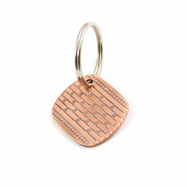 Brick Road Vintage Pattern Copper Keychain
