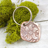 Star Flourish Flower Vintage Pattern Copper Keychain