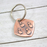copper flowers keychain metal handmade