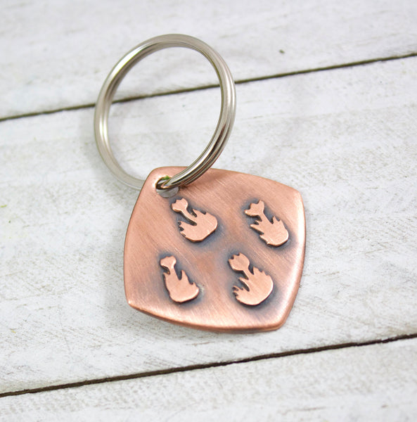 copper flowers keychain