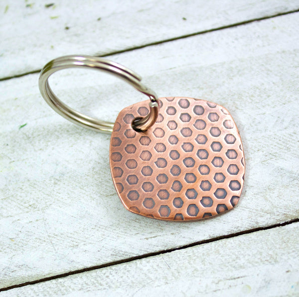 Honeycomb Pattern Copper Keychain