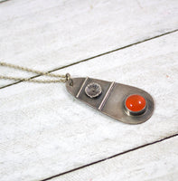 Orange Carnelian Flower Pendant