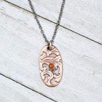 Flourish Pattern Moonstone Copper Pendant Handmade Vintage Design