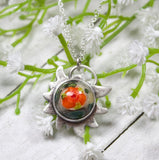 Edelweiss Flower Orange Stone Pendant