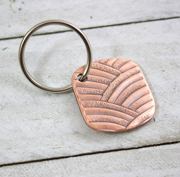 art deco arches copper keychain