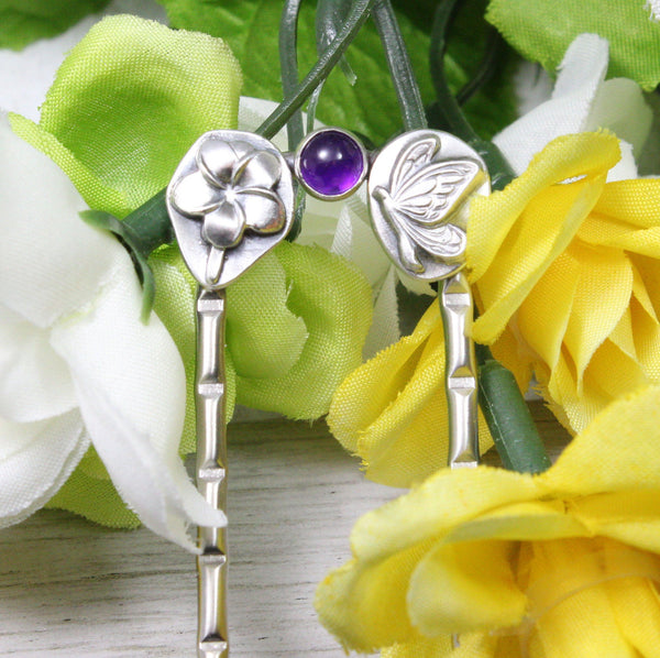butterfly and flower hair fork