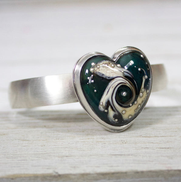 Green Heart Lampwork Glass Sterling Silver Cuff Bracelet