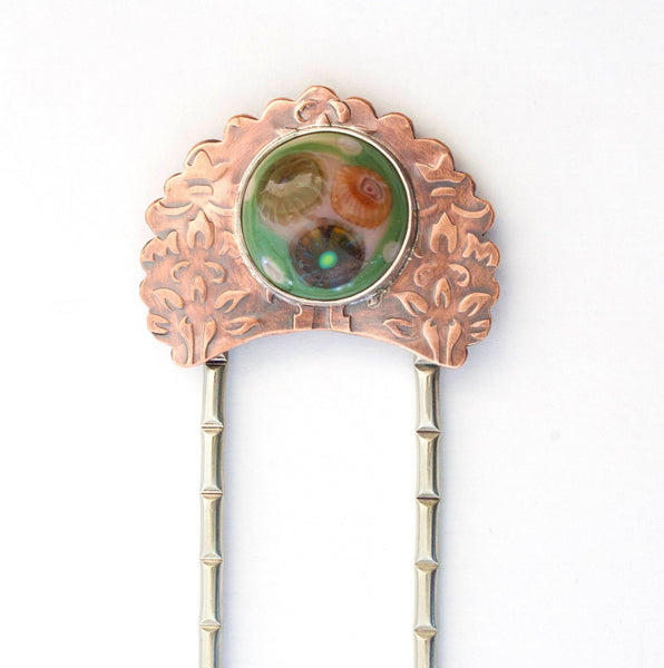 Peacock Flower Copper Hair Fork