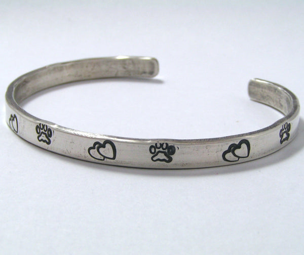 Paw Print and Hearts Sterling Silver Cuff Bracelet