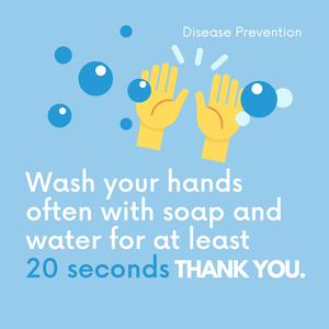 Washing you hands often with soap and water for at least 20 seconds