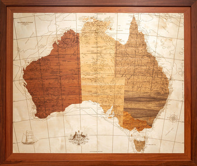 Bloody big Oz map luxurious wooden bespoke gift