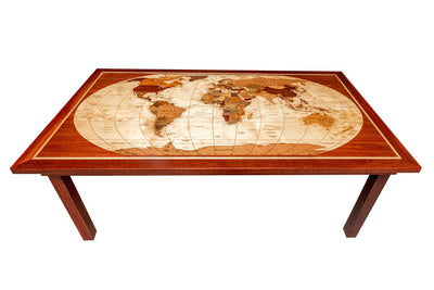 One of a kind world map dining room table