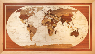Bespoke wooden world map