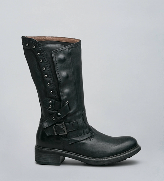 Women's Leather Biker Boots In Black