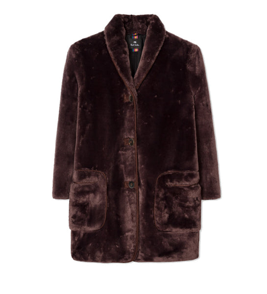 Women's Brown Faux Fur Shawl Collar Coat