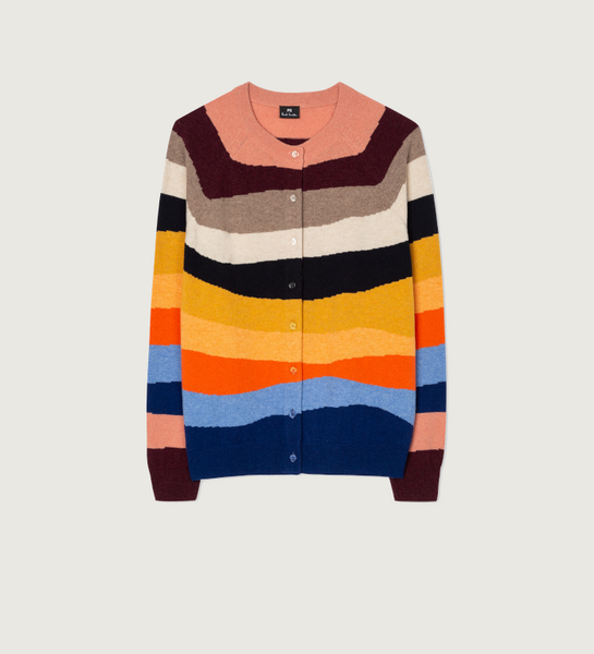 Women's Multi-Colour 'Mountain Stripe' Wool Blend Cardigan