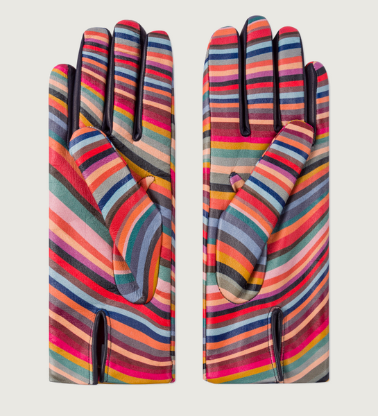 'Swirl' Print Leather Gloves