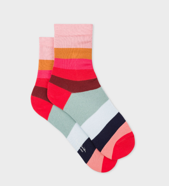 Women's Pink & Red Stripe Socks