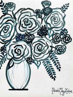 Monochromatic Floral Paintings on Paper | Nicole May Lesher