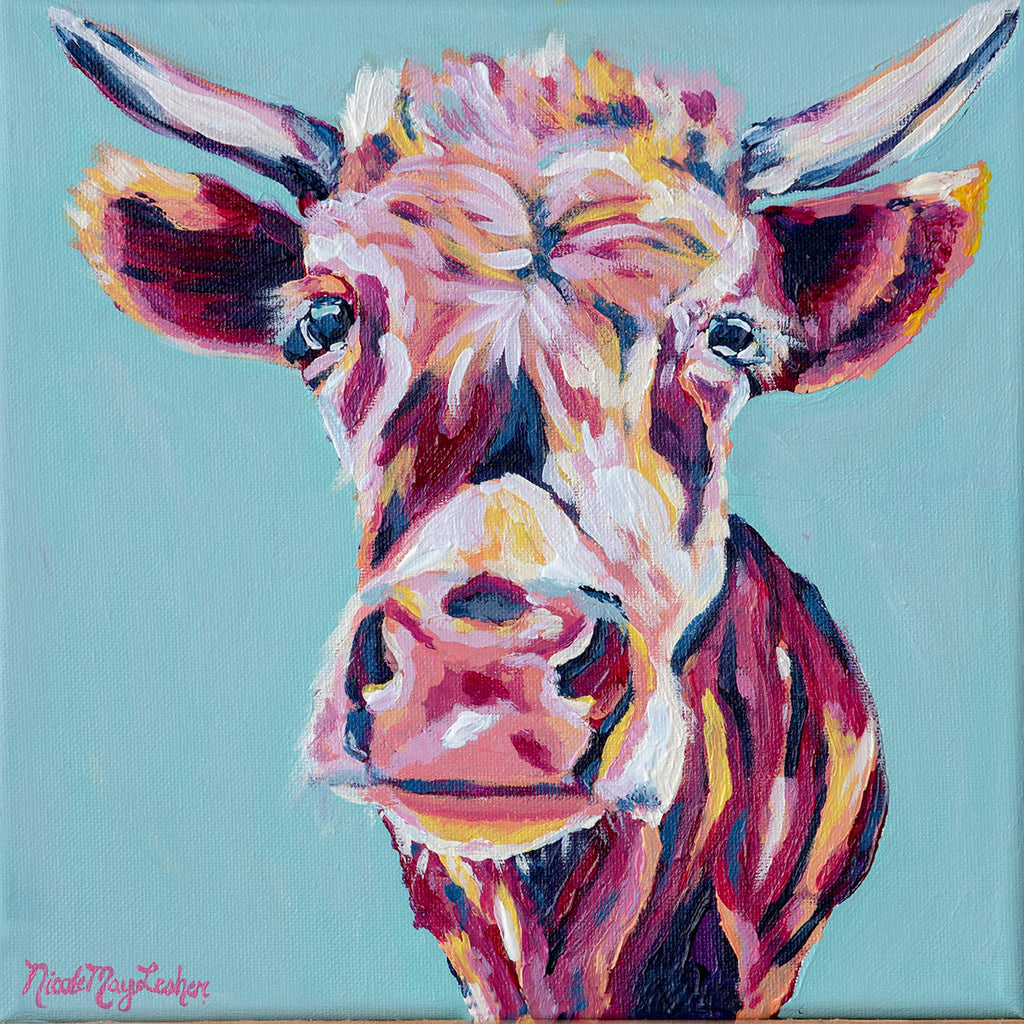 Annabelle | Colorful Bright Cow Painting | Wall Art | Nicole May Lesher
