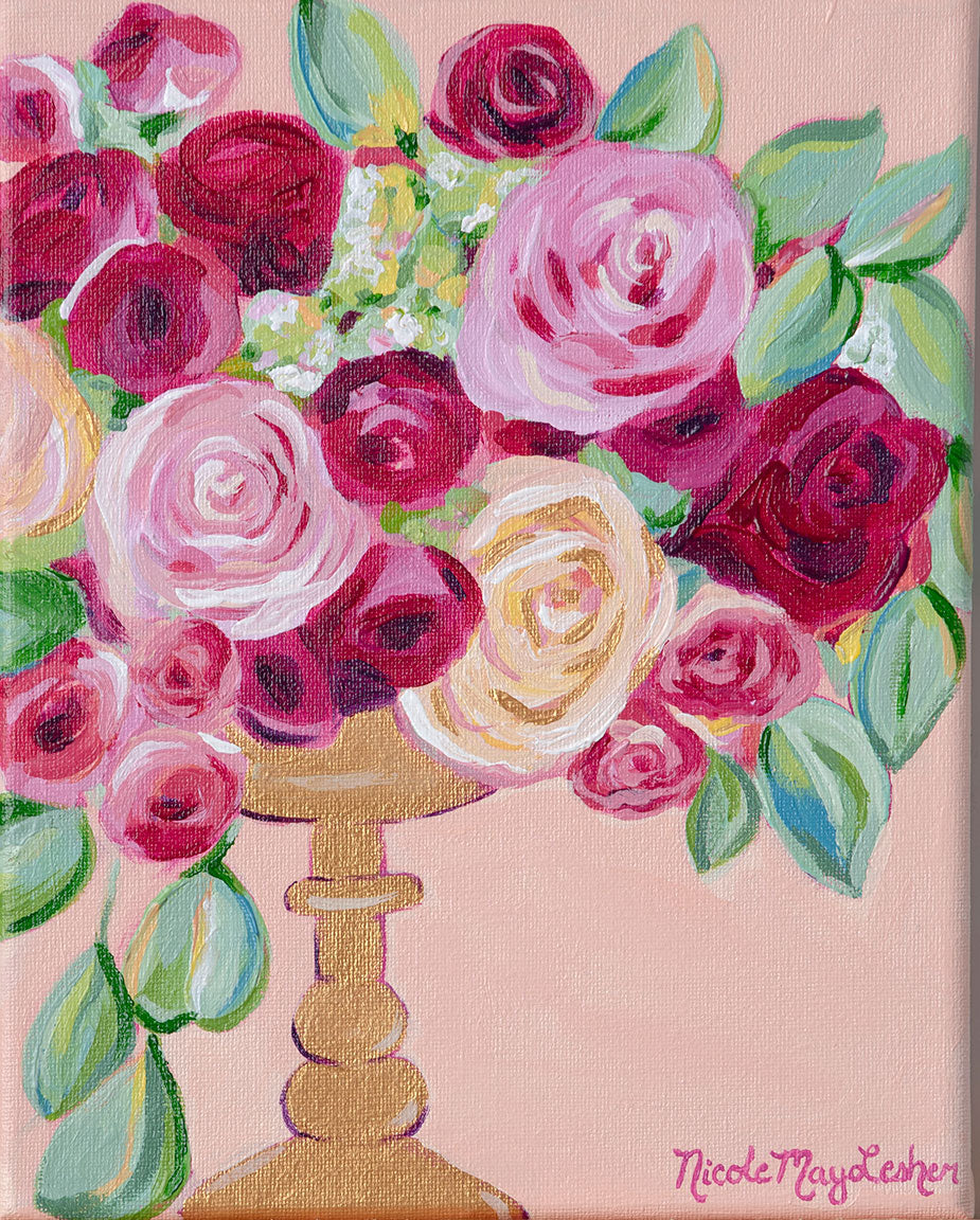 Blushing Bride | Pink and Gold Flower Arrangement Painting | Nicole May Lesher