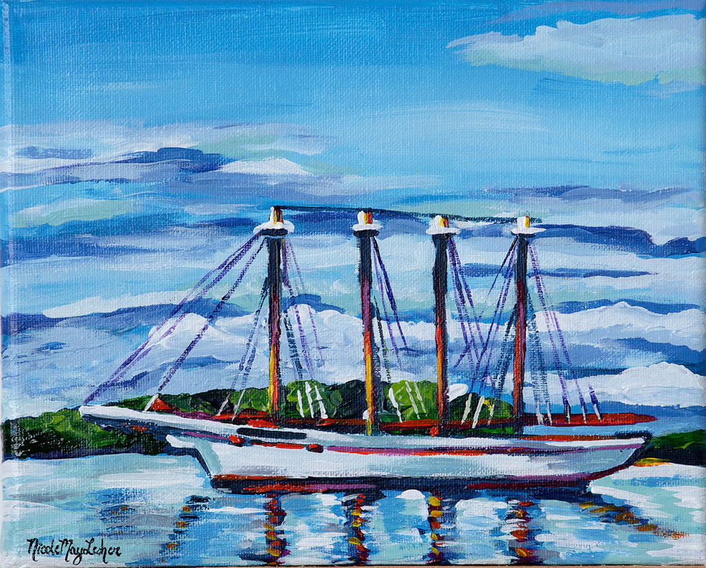 Four Masted Schooner | Nicole May Lesher | Fine Art Acrylic Boat Painting | Bar Harbor Maine