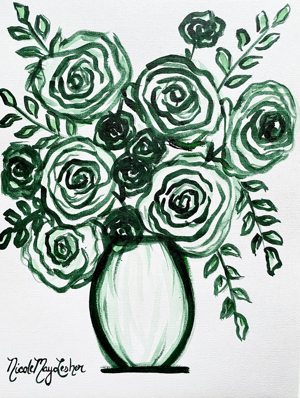 Emerald | Monochromatic Green Flower Painting | Acrylic Fine Art | Nicole May Lesher