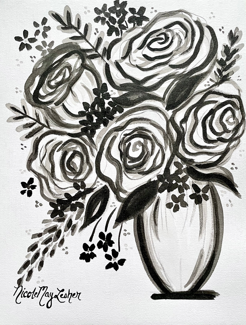 Black and White Acrylic Flower Painting | Nicole May Lesher