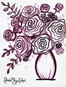 Magenta Monochromatic Flower Painting | Acrylic Fine Art | Nicole May Lesher