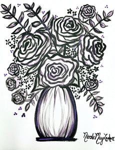 Violet | Monochromatic Flower Painting on Paper | Acrylic Fine Art | Nicole May Lesher