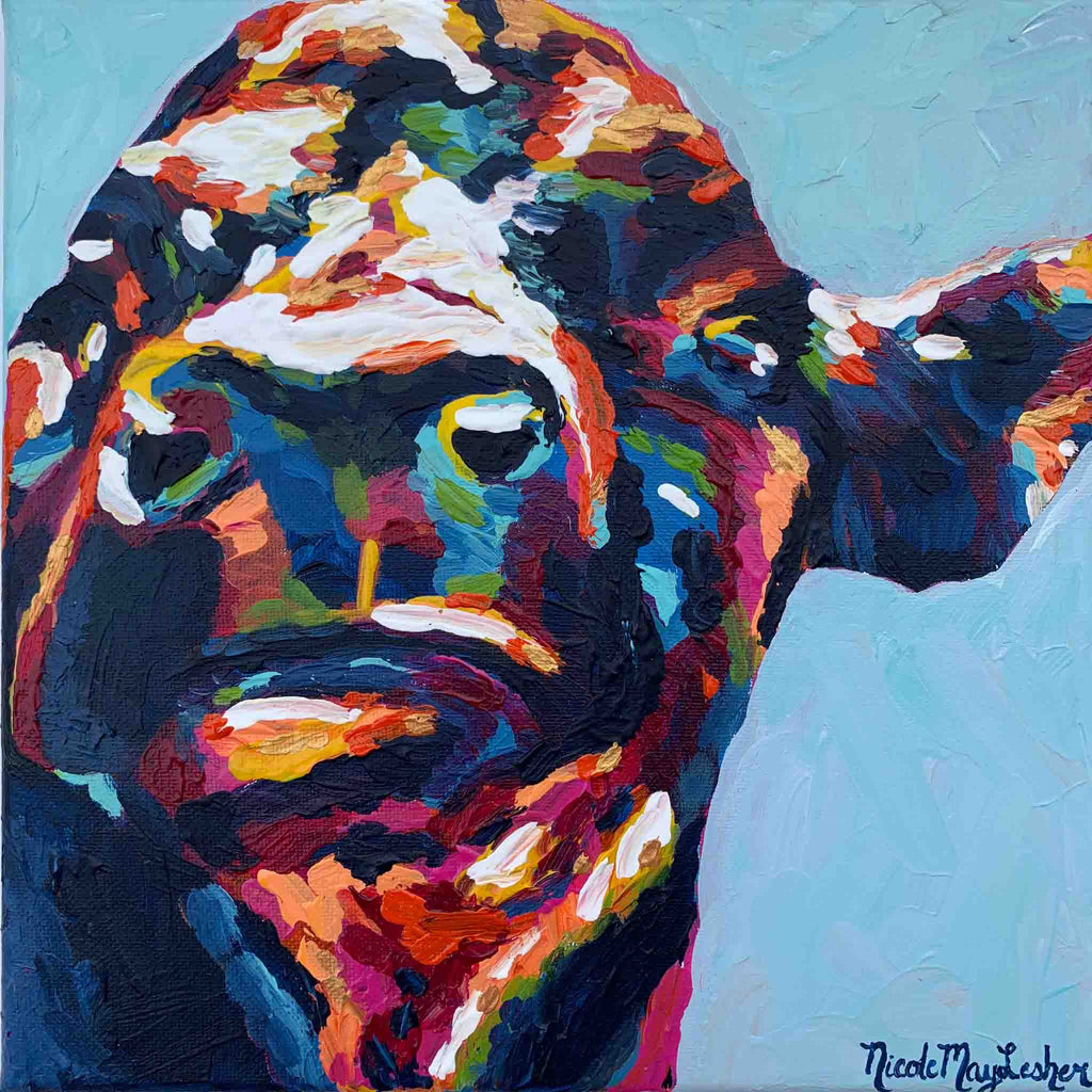 Moo Cow | Colorful Cow Painting Portrait | Original Fine Art | Nicole May Lesher