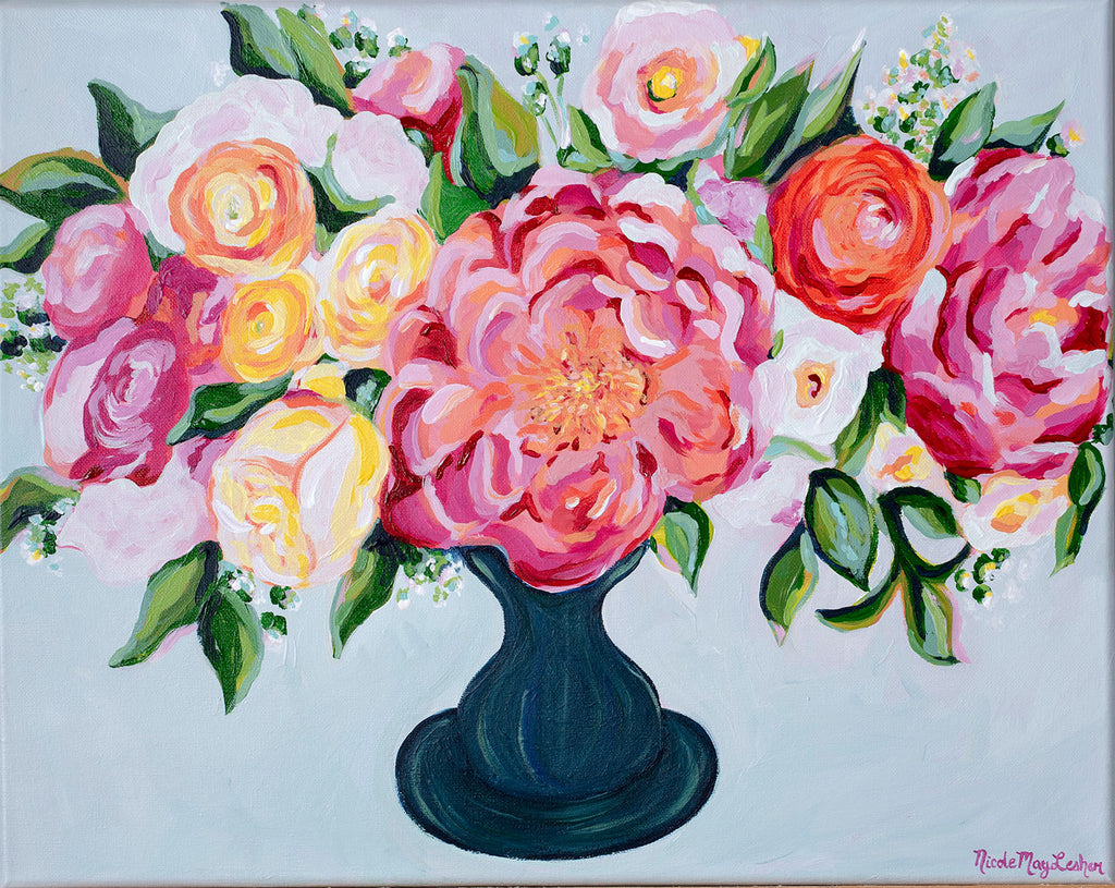 My Little Peony | Pink Peony Flower Painting | Nicole May Lesher