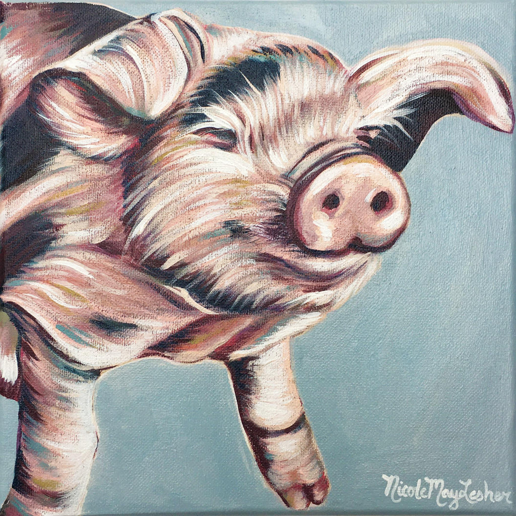 Barnyard Piggy | Fine Art Farmhouse Pig Painting | Nicole May Lesher