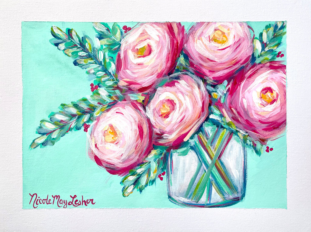 Roses Can Blossom | Nicole May Lesher | Original Acrylic Painting on Paper | Flower Arrangement | Floral Art