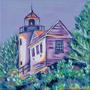 Shining In The Darkness | Purple Lighthouse Painting | Bass Harbor Lighthouse | Acadia National Park Maine | Nicole May Lesher