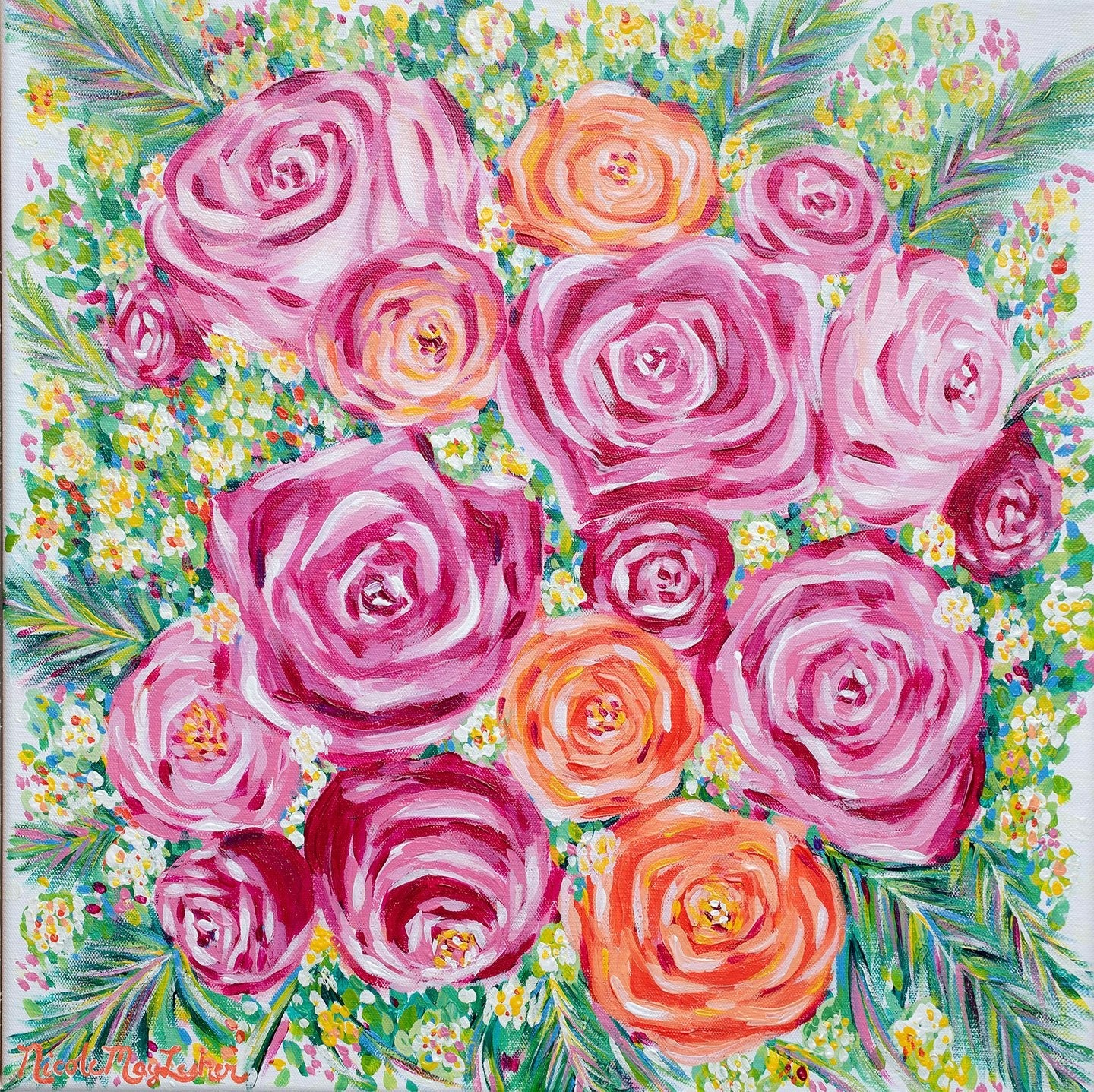 Spring Bouquet | Colorful Pink Flower Bouquet Painting | Wall Art | Home Decor | Nicole May Lesher