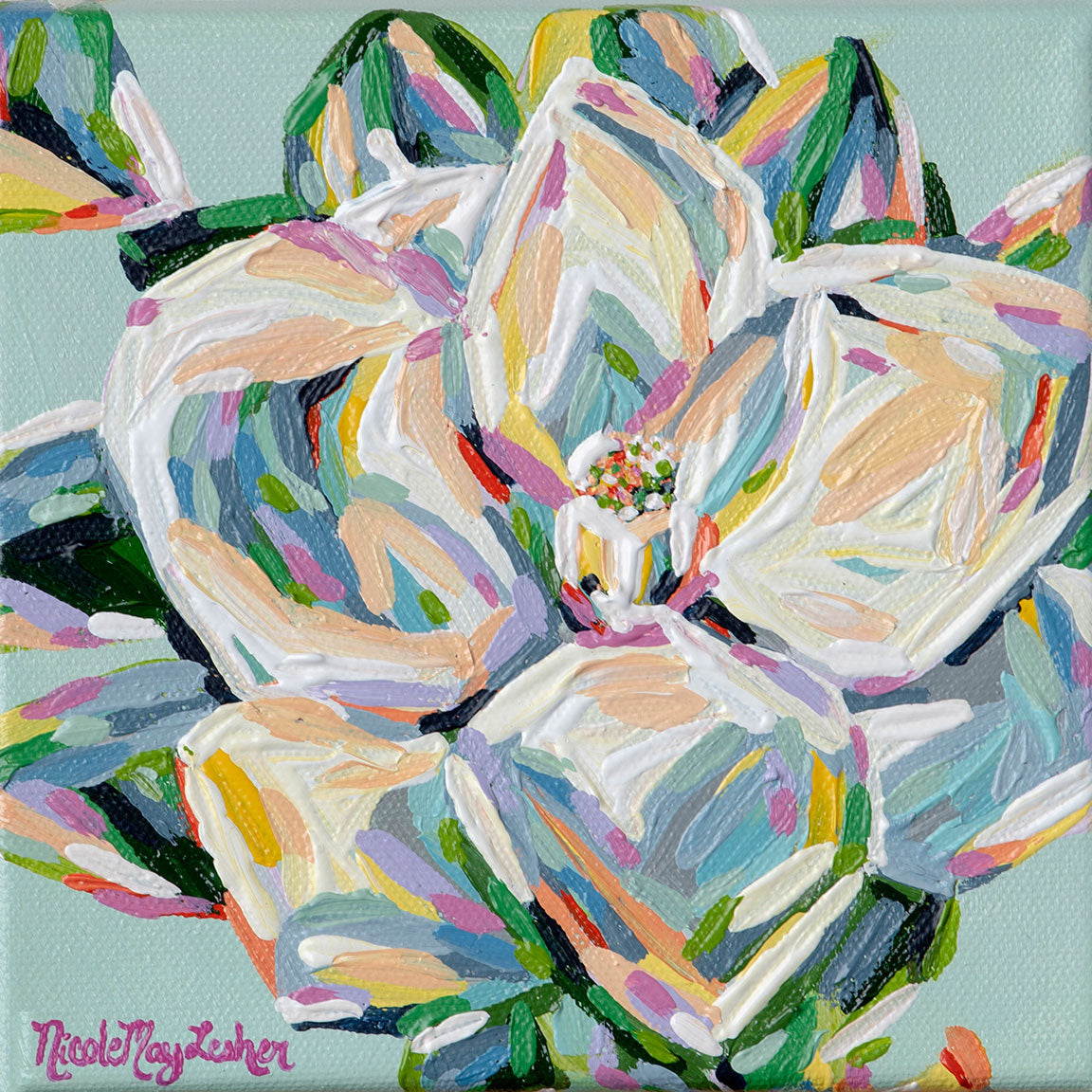 Spring Magnolia | Colorful Pastel Flower Painting | Nicole May Lesher