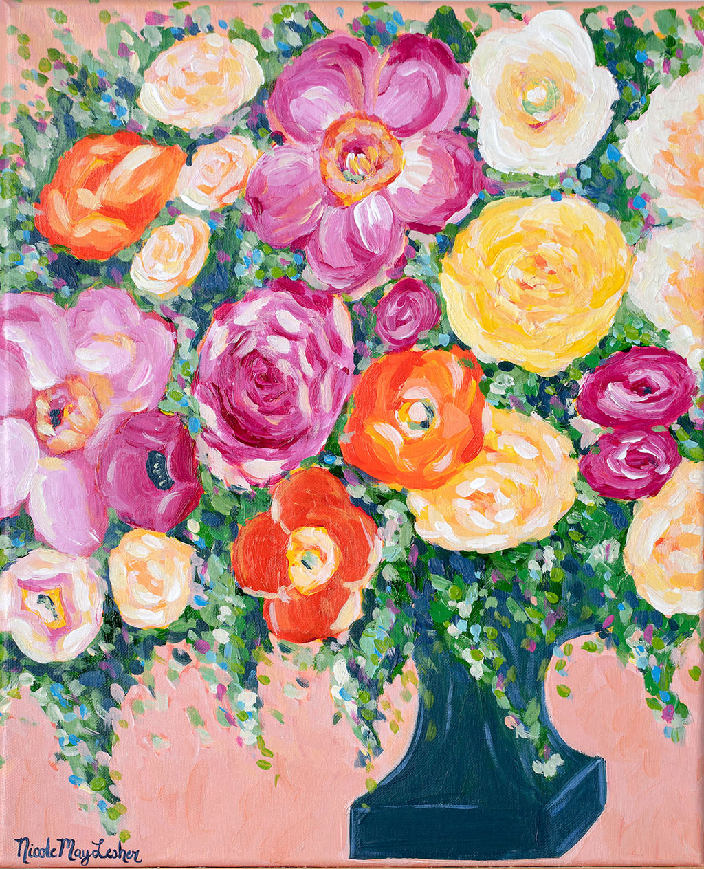 Sunday Brunch | Flower Arrangement Colorful Painting | Nicole May Lesher