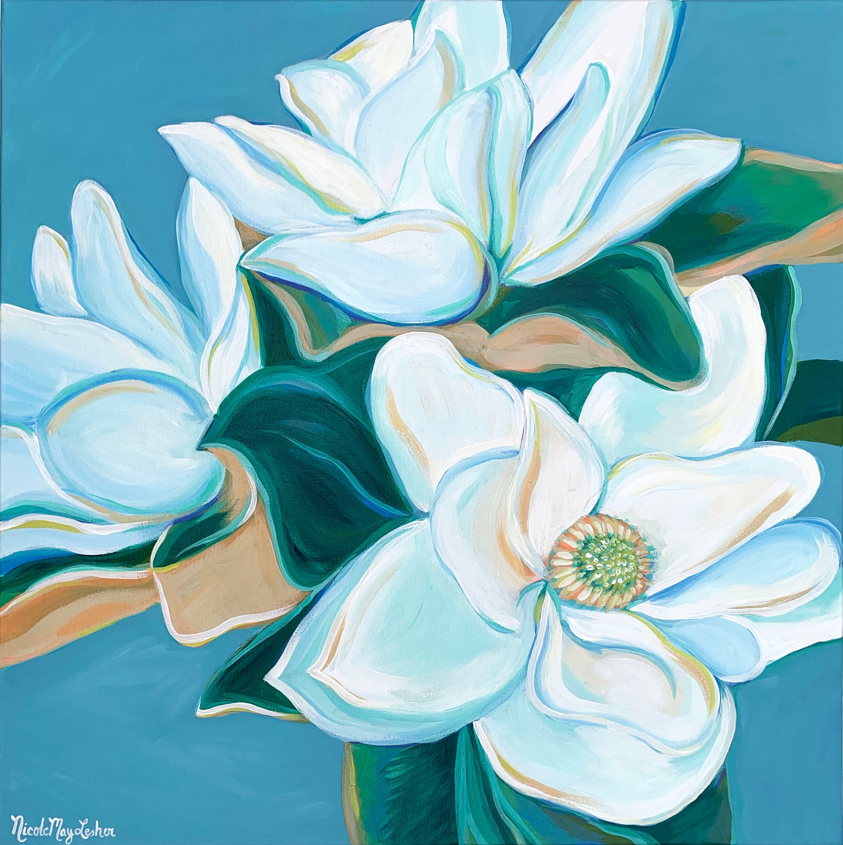 Sweet Magnolias | Original Fine Art Acrylic Magnolia Flower Painting | Wall Art | Nicole May Lesher