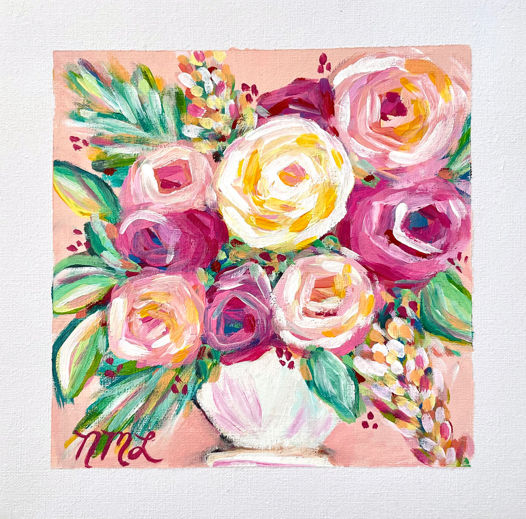 Time For Tea | Nicole May Lesher | Original Fine Art Flower Painting on Paper