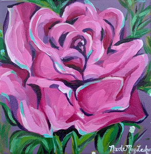 Violet Rose | Mini Flower Painting | Nicole May Lesher