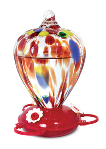 Art Glass Hummingbird Feeder Balloon Design