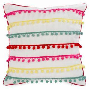 Colorful Pompoms Motif Indoor Pillow