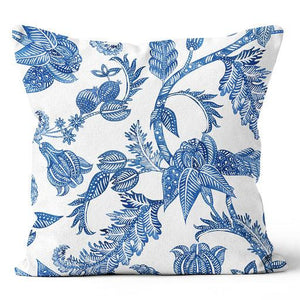 "Contemporary Refuge Indigo & White Living Florals Indoor Pillow 20"" x 20"""