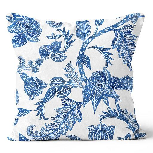 Contemporary Refuge Indigo & White Living Florals Indoor Pillow 20