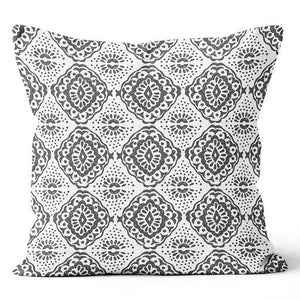 "Contemporary Refuge Medallion Shadow & Stone Indoor Pillow 17"" x 17"""