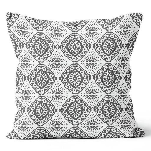 Contemporary Refuge Medallion Shadow & Stone Indoor Pillow 17