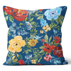"Ecotopia Floral Blue Indoor Pillow 17"" x 17"""
