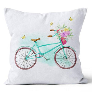 "Ecotopia Rose Bicycle Turquoise / Purple Indoor Pillow 17"" x 17"""
