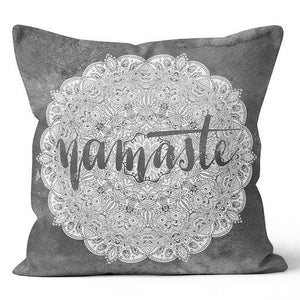 "Eco Intelligent Namaste Charcoal Indoor Pillow 17"" x 17"""